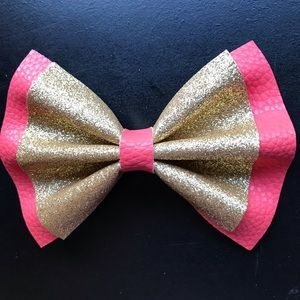 Coral and gold faux leather glitter bow!